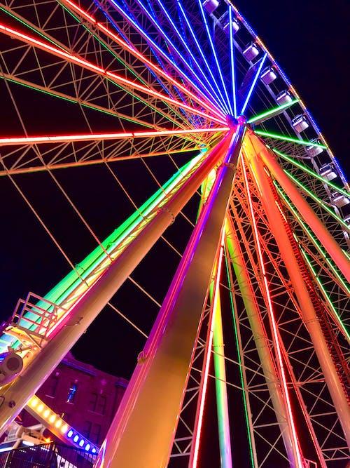Free stock photo of aluminous, amusement ride, circle, colorful