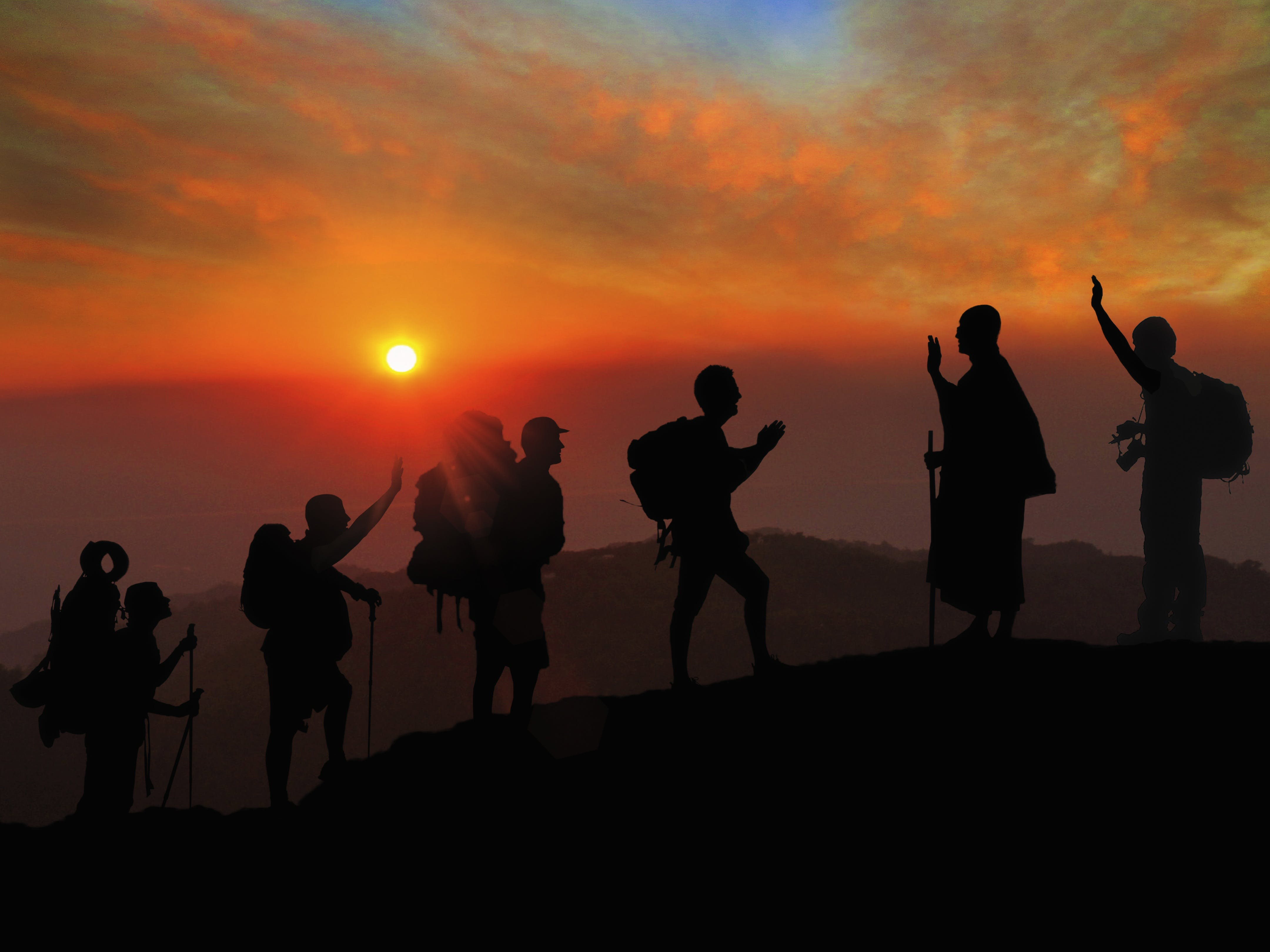 Free stock photo of nature, sunset, people, mountain