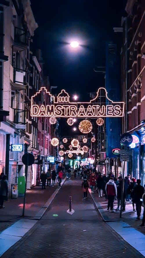 Ilmainen kuvapankkikuva tunnisteilla amsterdam, damstraatjes, kaupungin yö, yökuvaus