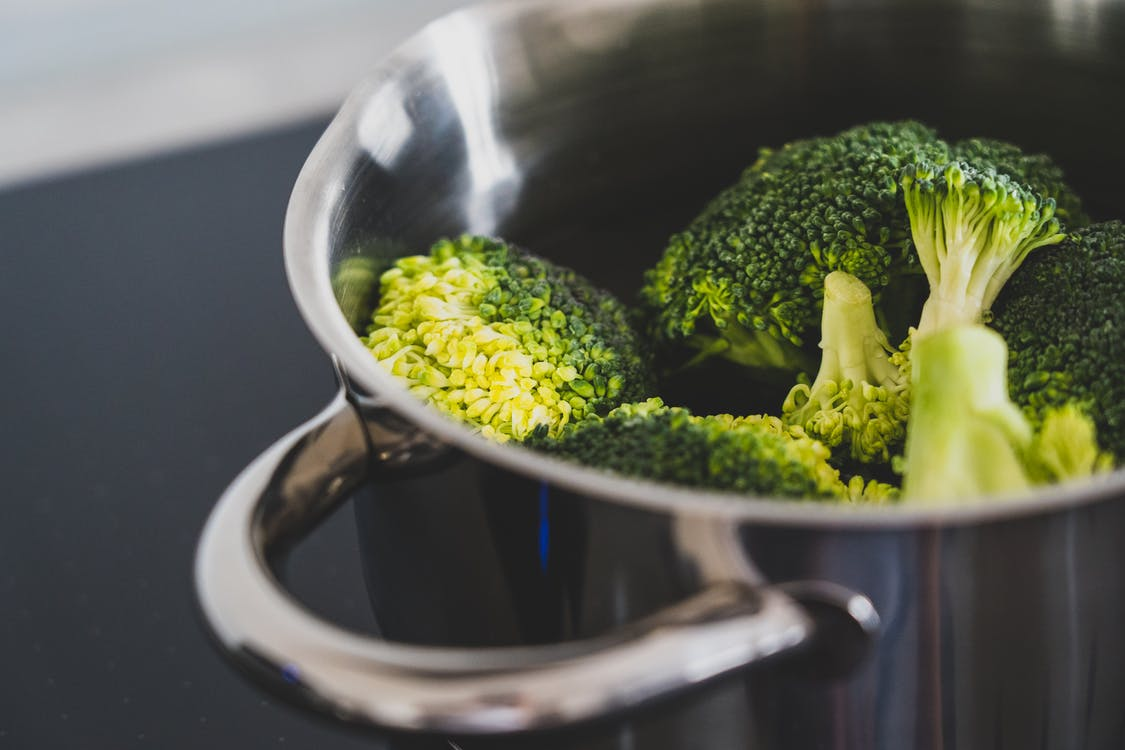 Green Broccoli in Stainless Steel Cooking Pot -  Dinner Recipes That Kids Can Cook