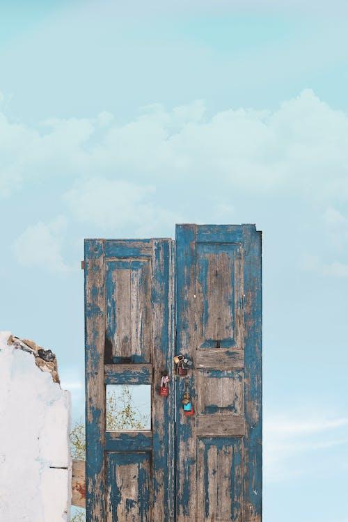 Free stock photo of blue, door, lock, minimalism