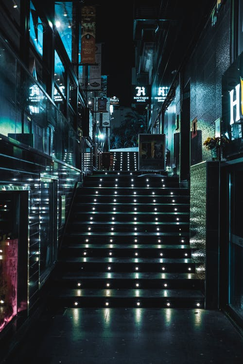 Illuminated Staircase on a Nighttime