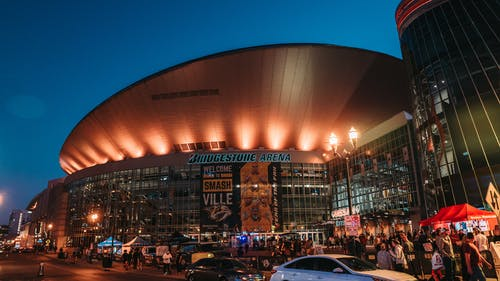 Modern sports arena in Nashville at night