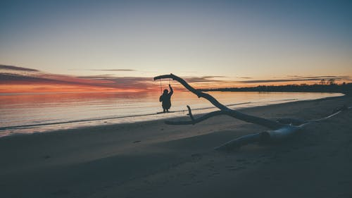 Silhouette Photo of Person on Beach