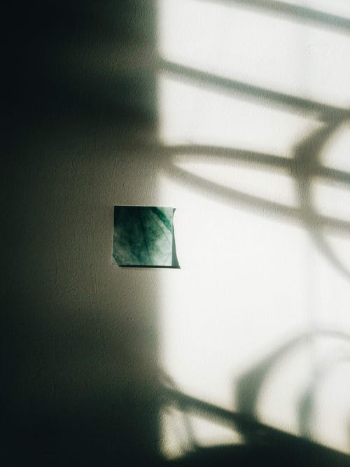 Green Paper and Shadows on White Wall