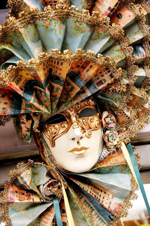 White Gold and Blue Floral Mask