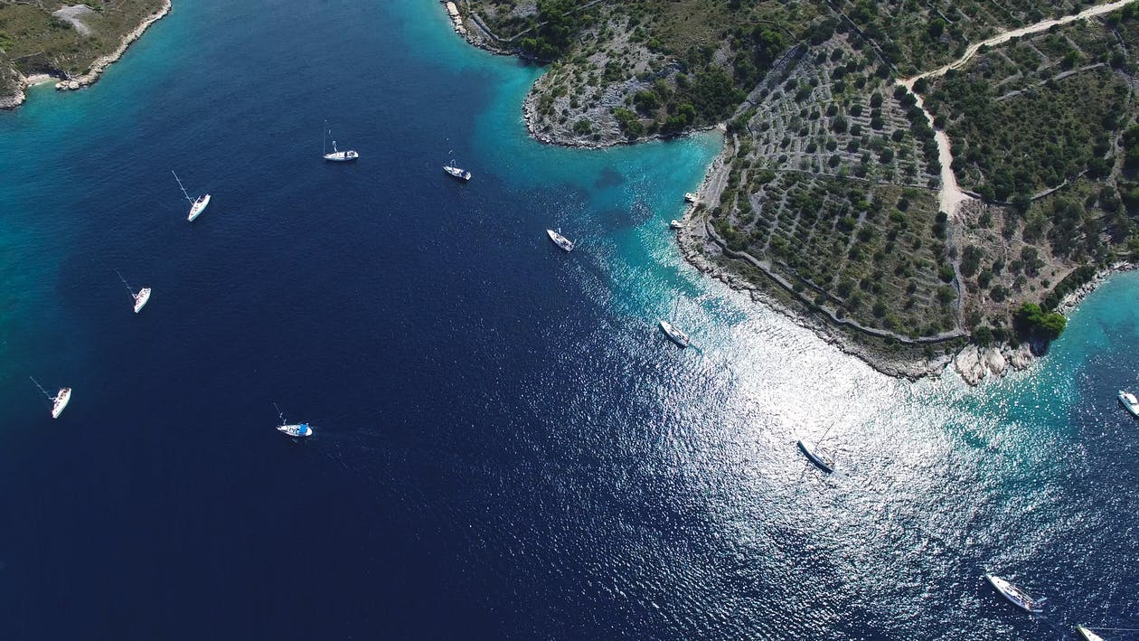 aquatique, baie, bateau