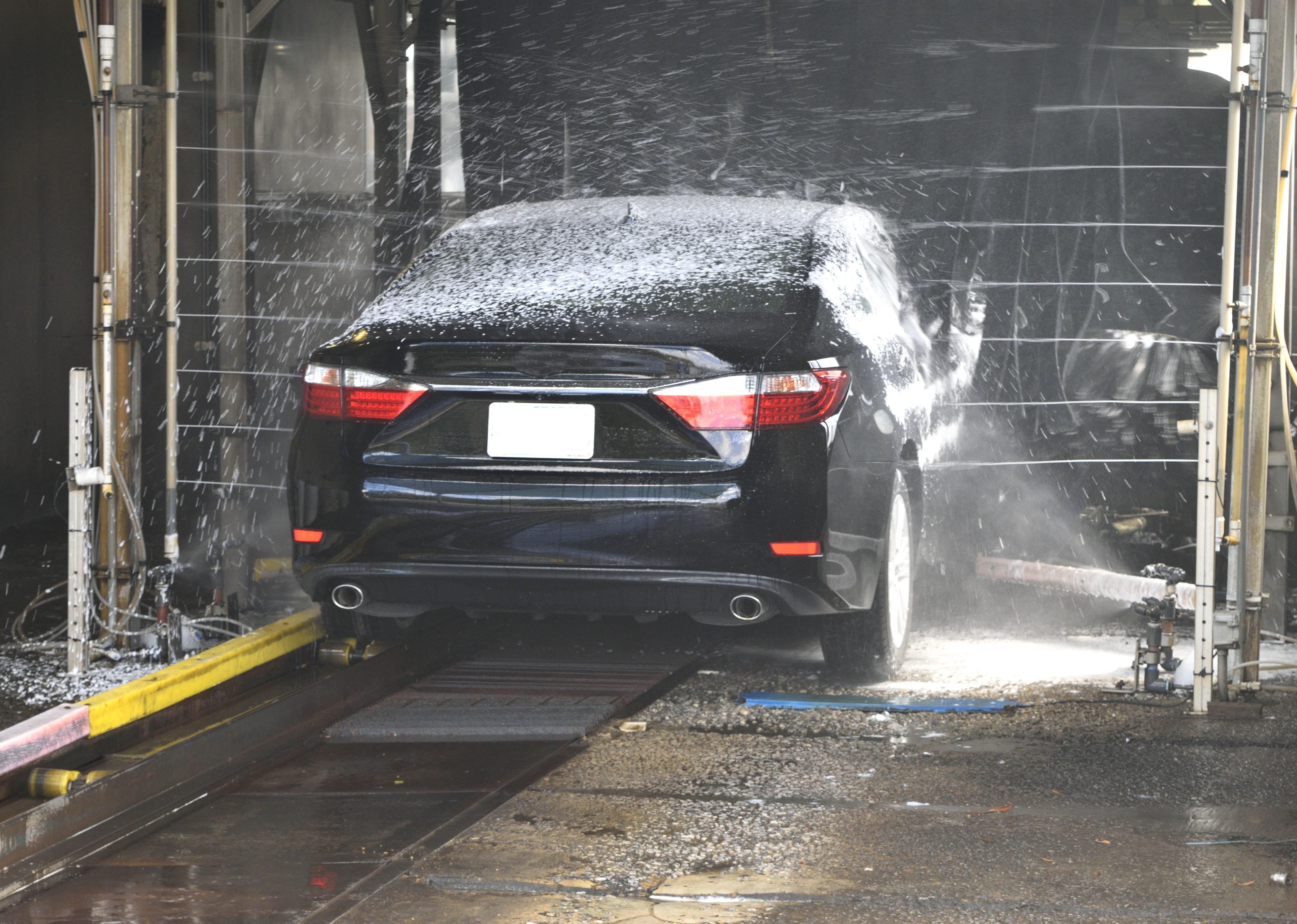 Carwashed Black Sedan