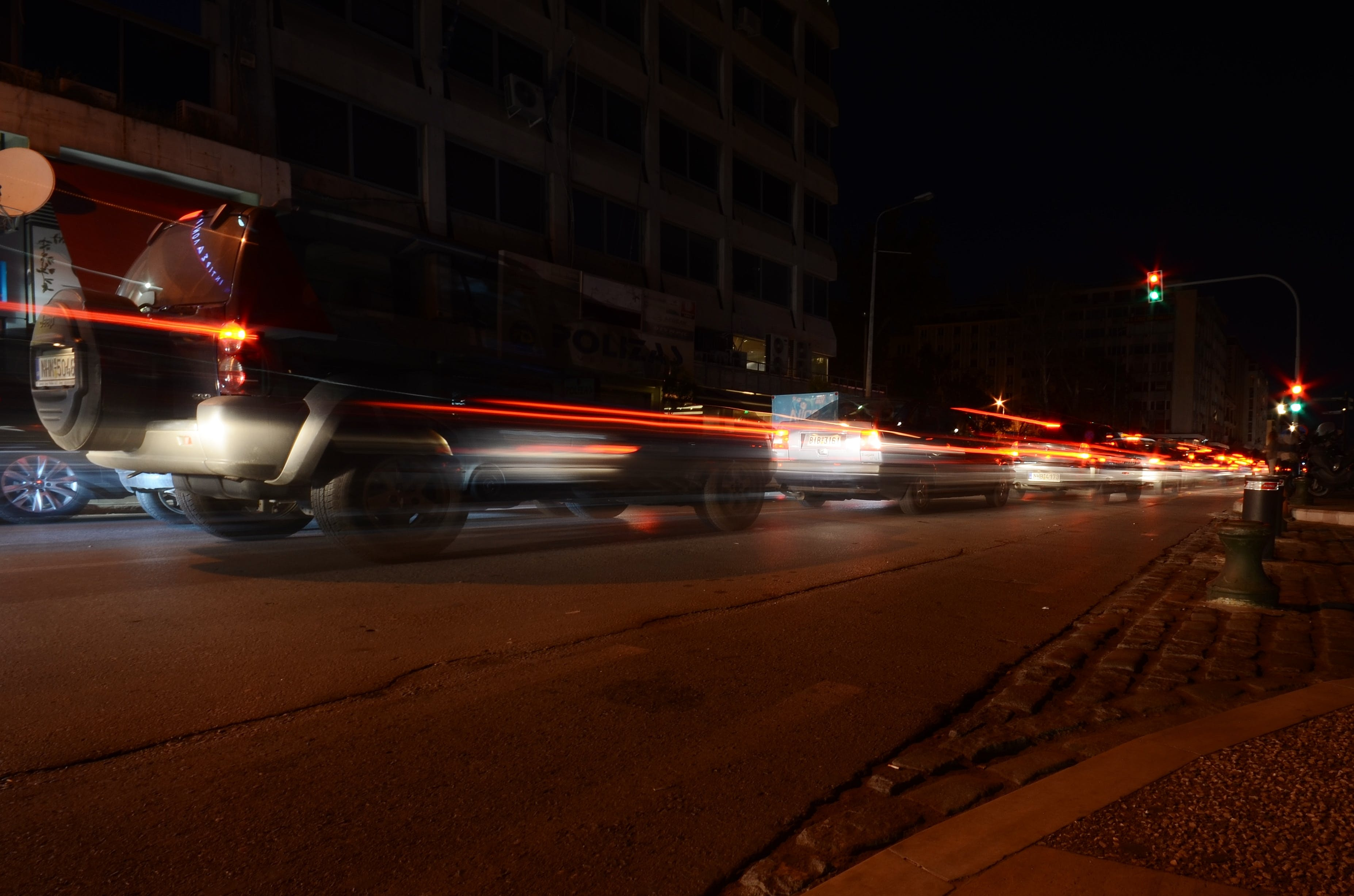Timelapse Photography of Traveling Vehicles during Nighttime
