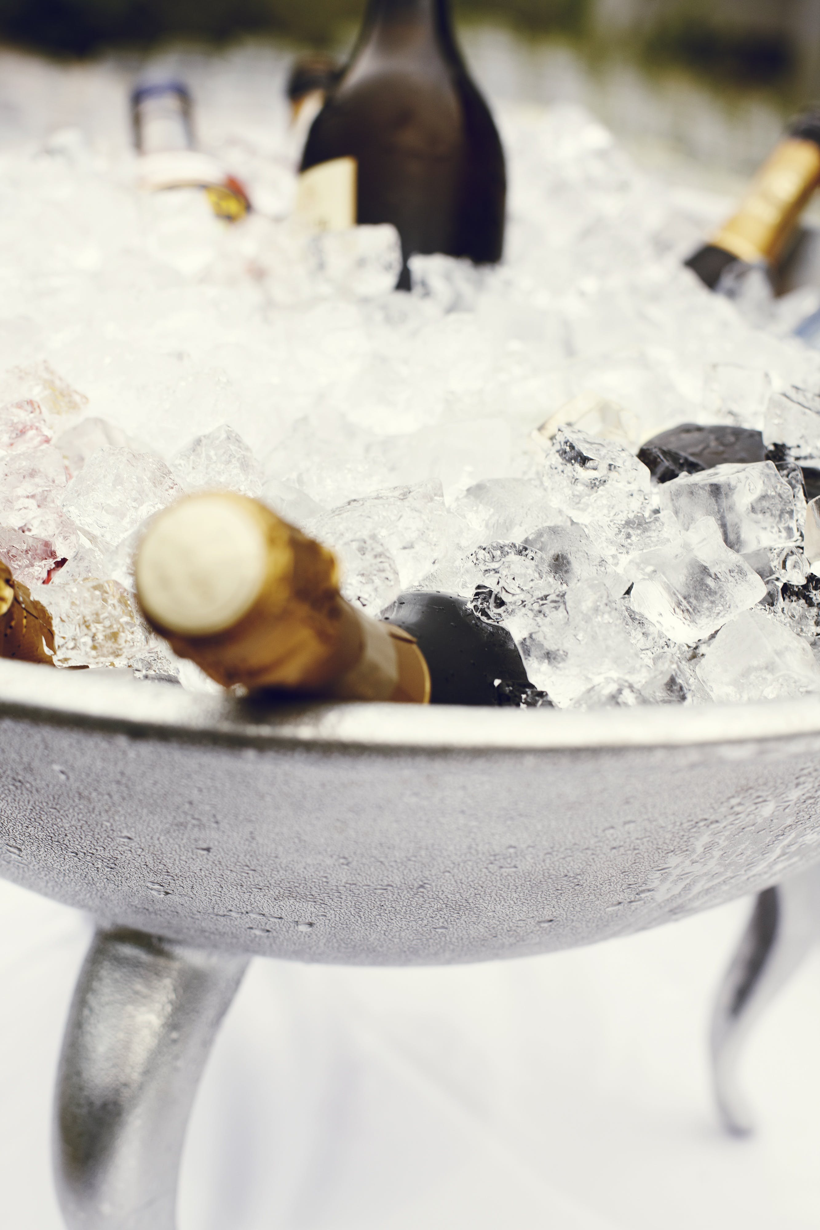Wine Bottles in Stainless Steel Tray Filled With Ice