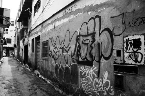 Free stock photo of black and white, bnw, city, graffiti