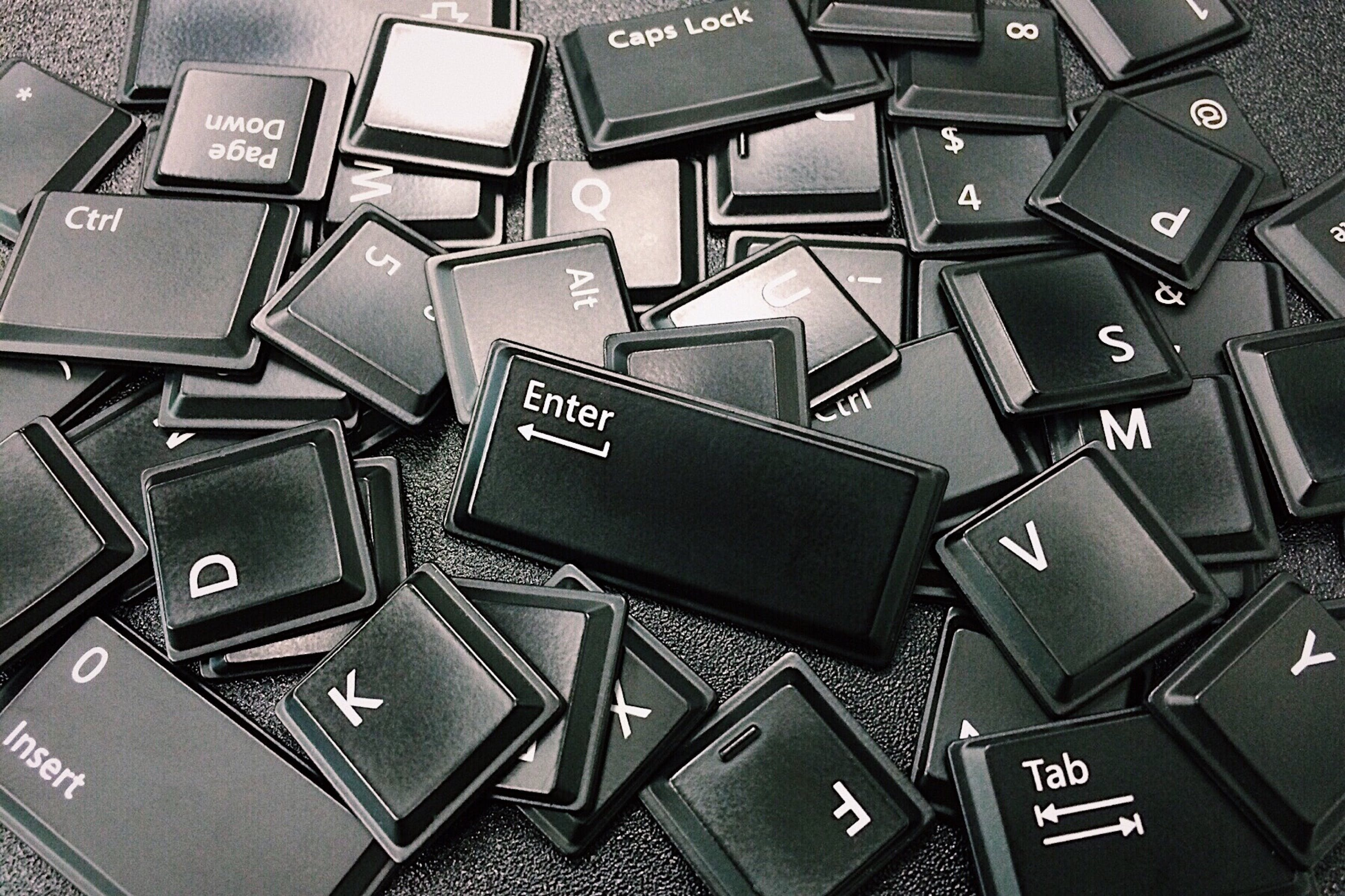 Free stock photo of black-and-white, display, keyboard, keys