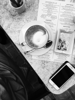 Free stock photo of food, black-and-white, menu, coffee
