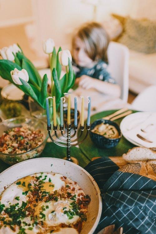 Menorah on Dinner Table