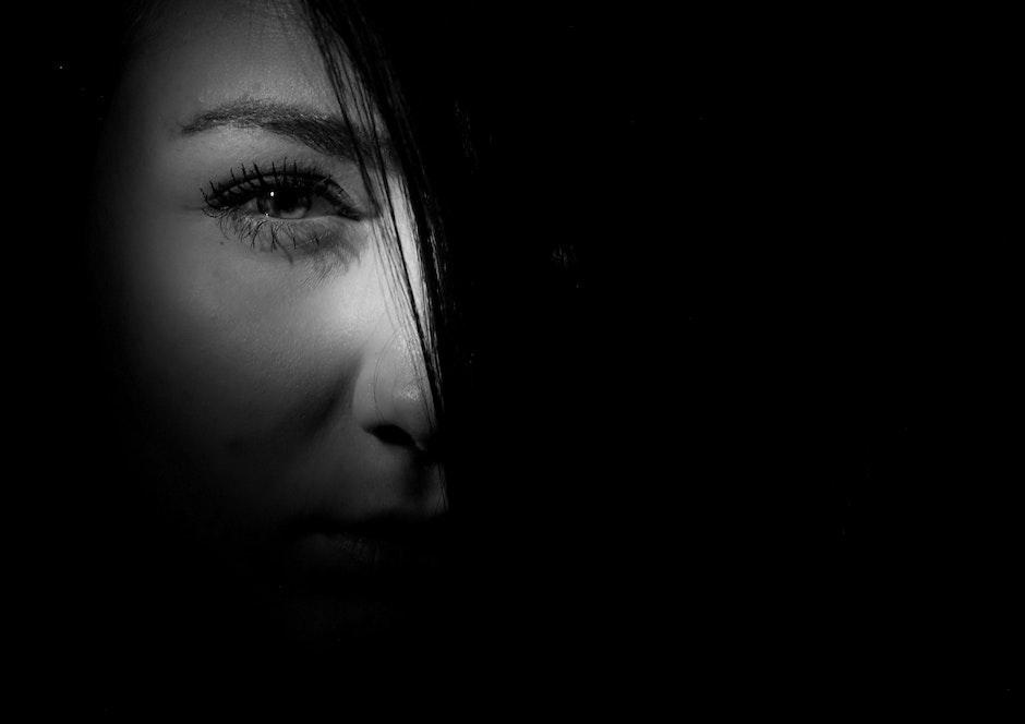 black-and-white, dark, eye