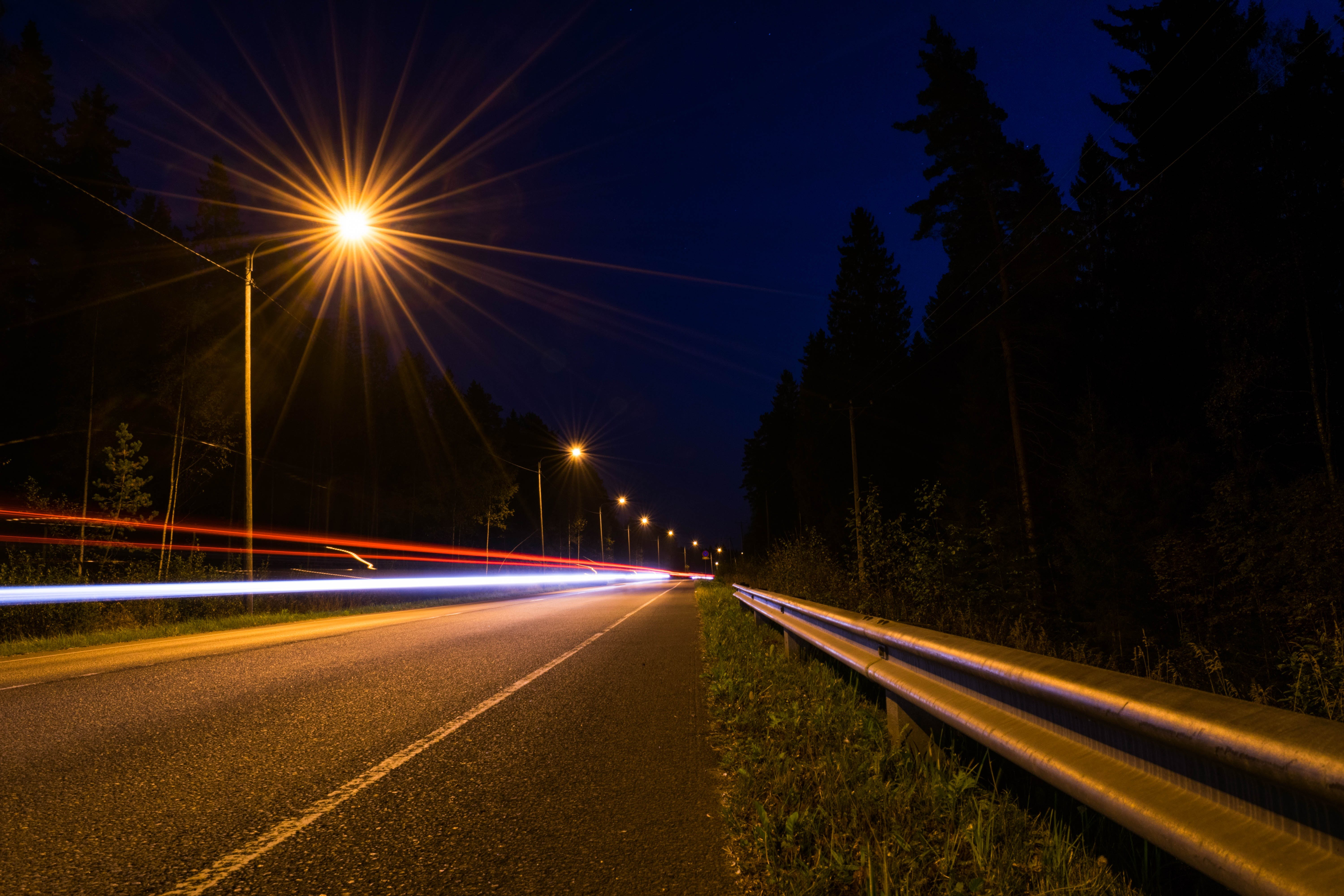Timelaps Photography of Road at Night