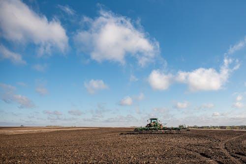 Padang Rumput Hijau Di Bawah Langit Biru Dan Awan Putih