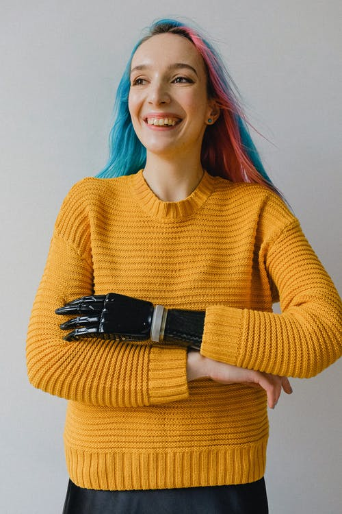 Woman in Yellow Sweater Smiling