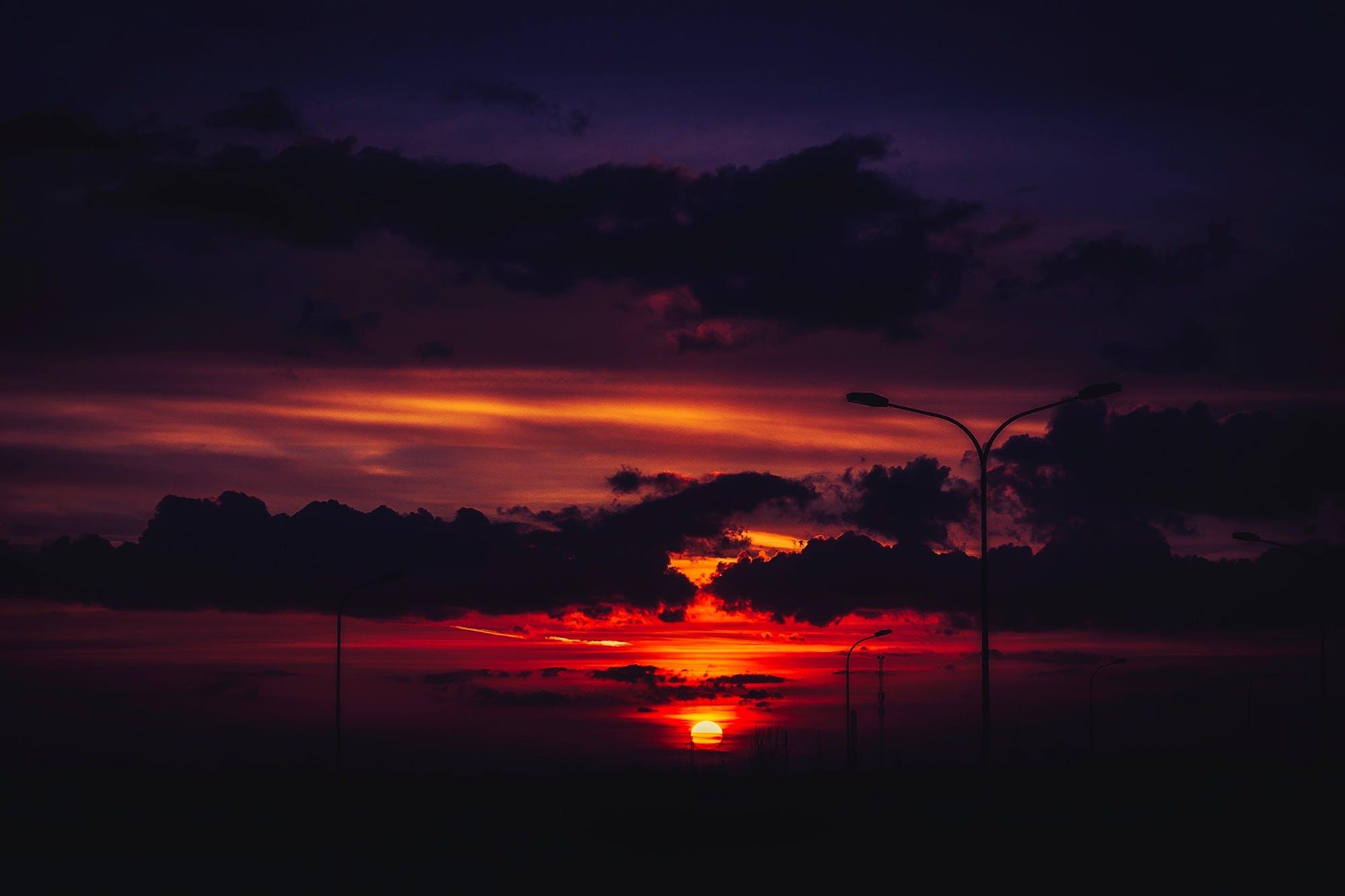 Free stock photo of nature, sky, sunset, lights