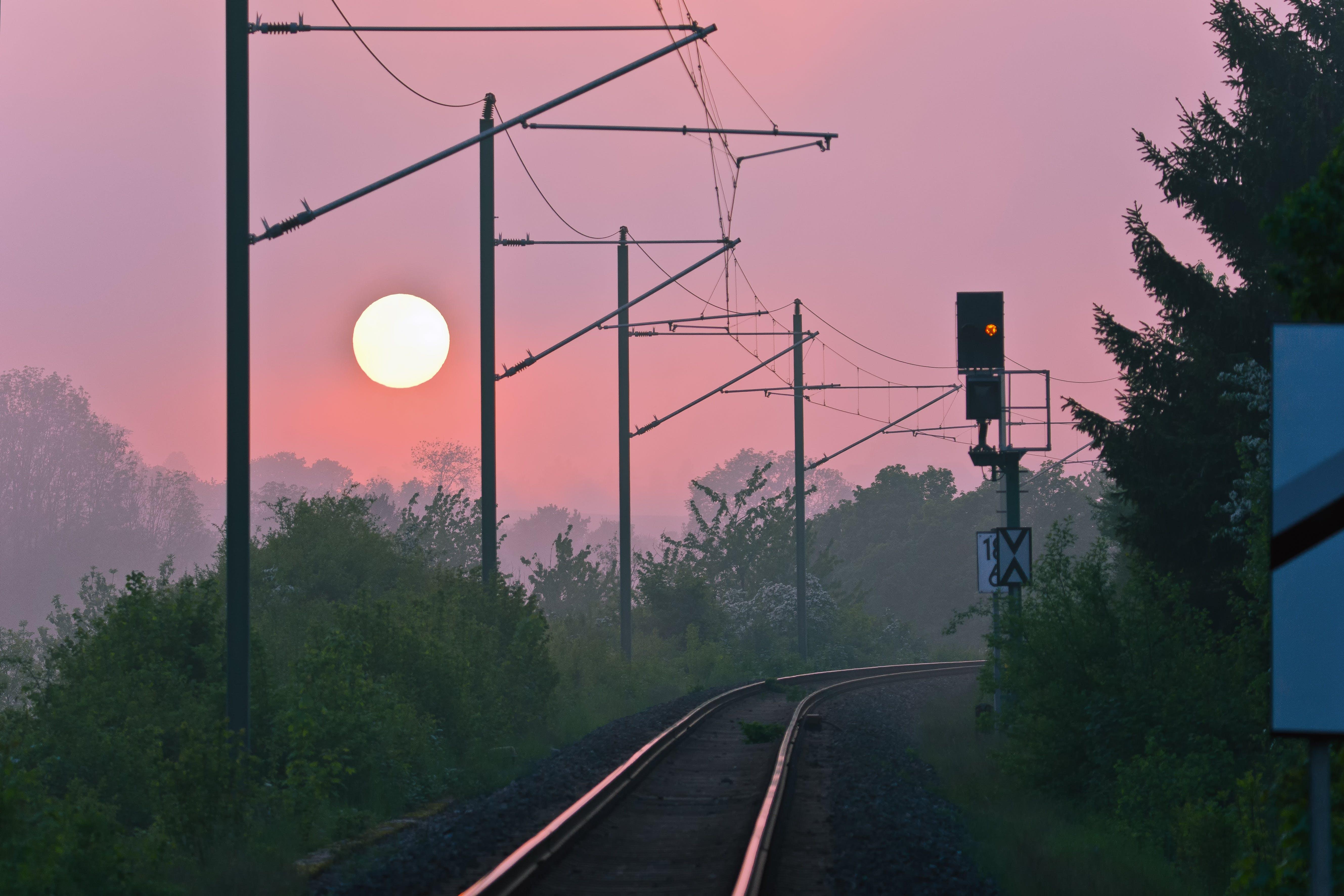 Free stock photo of sunset, railway, trains, abendstimmung