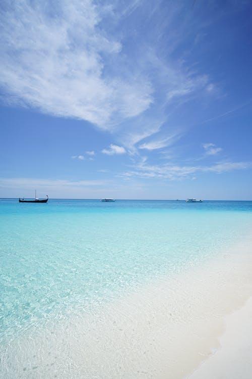 idylický, modrá obloha, moře