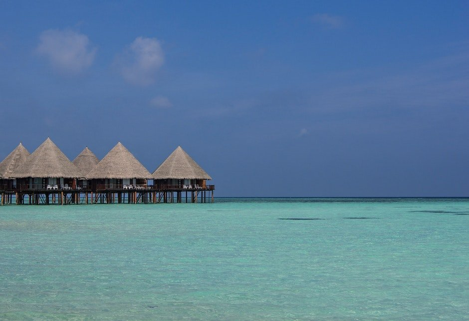 beach, beach hut, blue sky