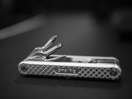 Grayscale Photo of Stainless Steel Nail Cutter