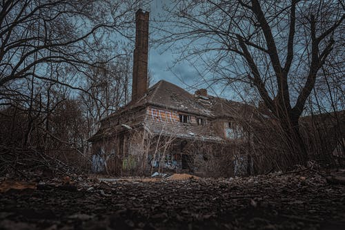 Brick House in the Middle of the Woods Under Cloudy Day Sky