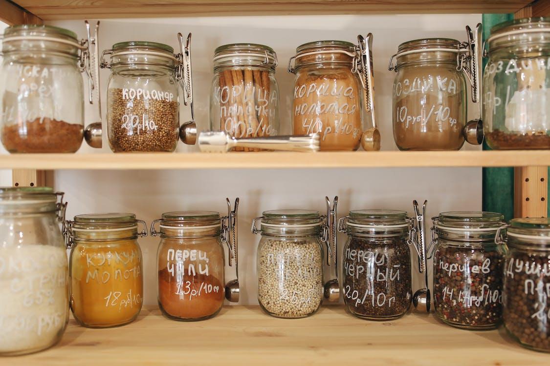 Glass Jars on Wooden Shelf
