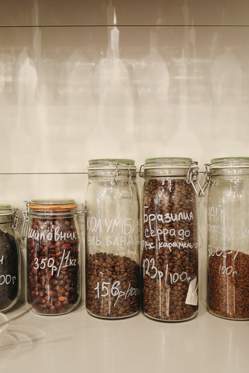 Brown and Black Beans in Clear Glass Jar