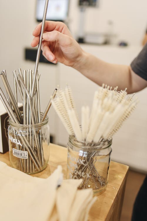 Metal Straws in Jar