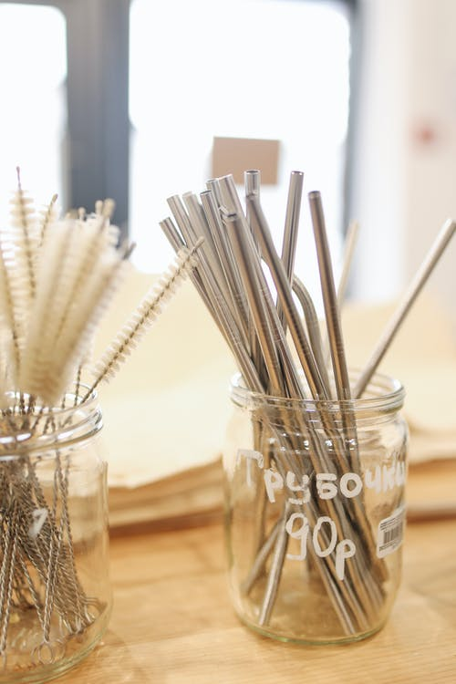 Metal Straws in Glass Jar