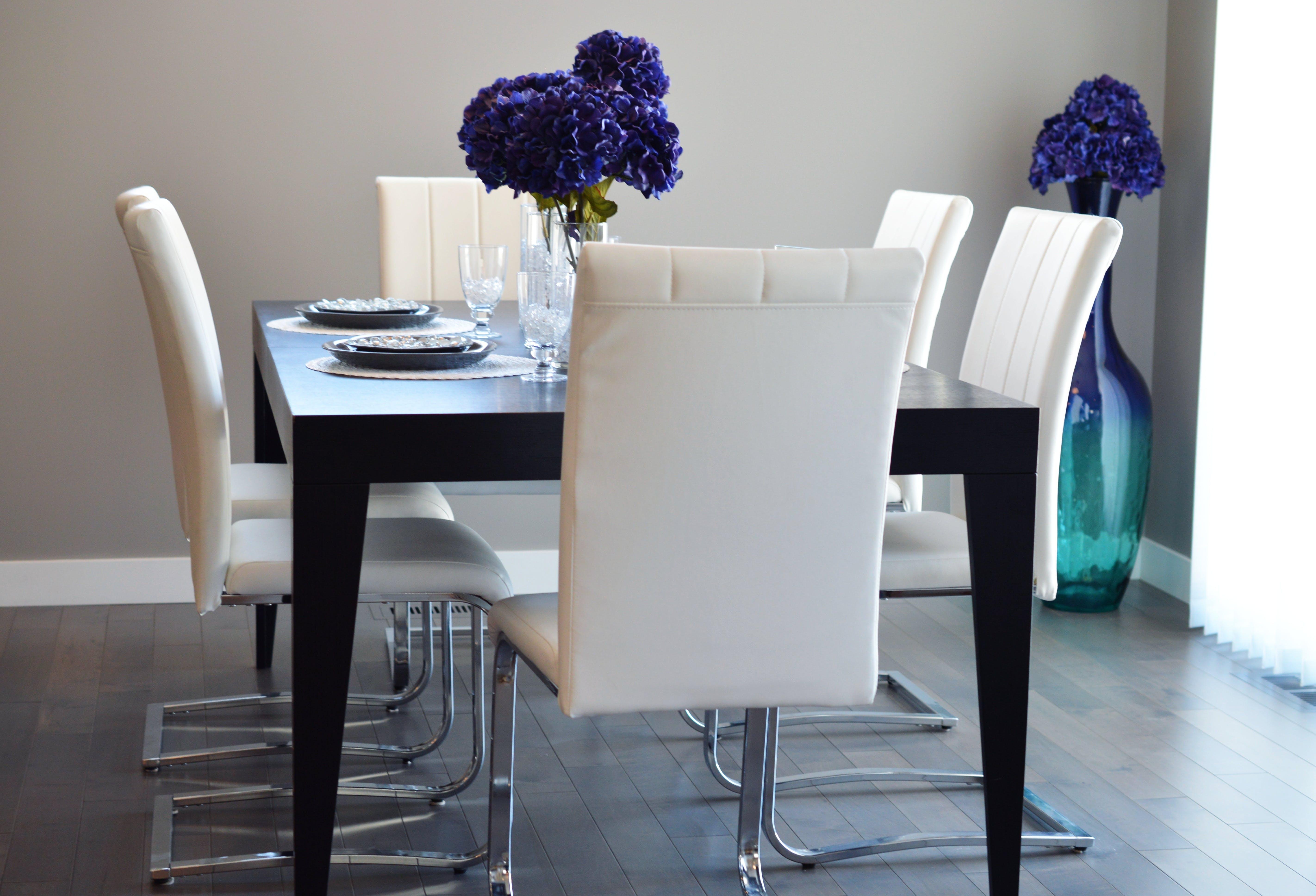 Purple Petaled Flowers on Table