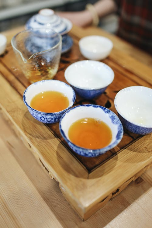 Teacups on Wooden Tray
