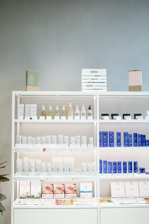 Beauty Products on Shelves