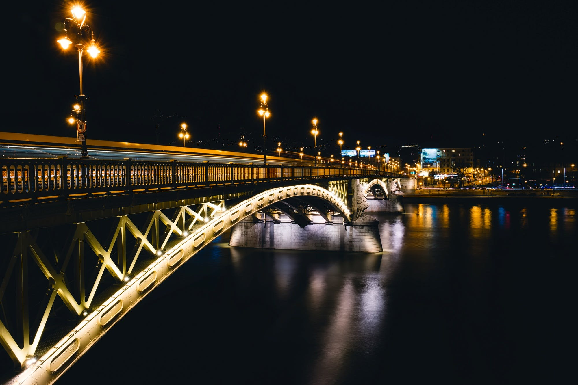 Gray Steel Bridge during Nighttime
