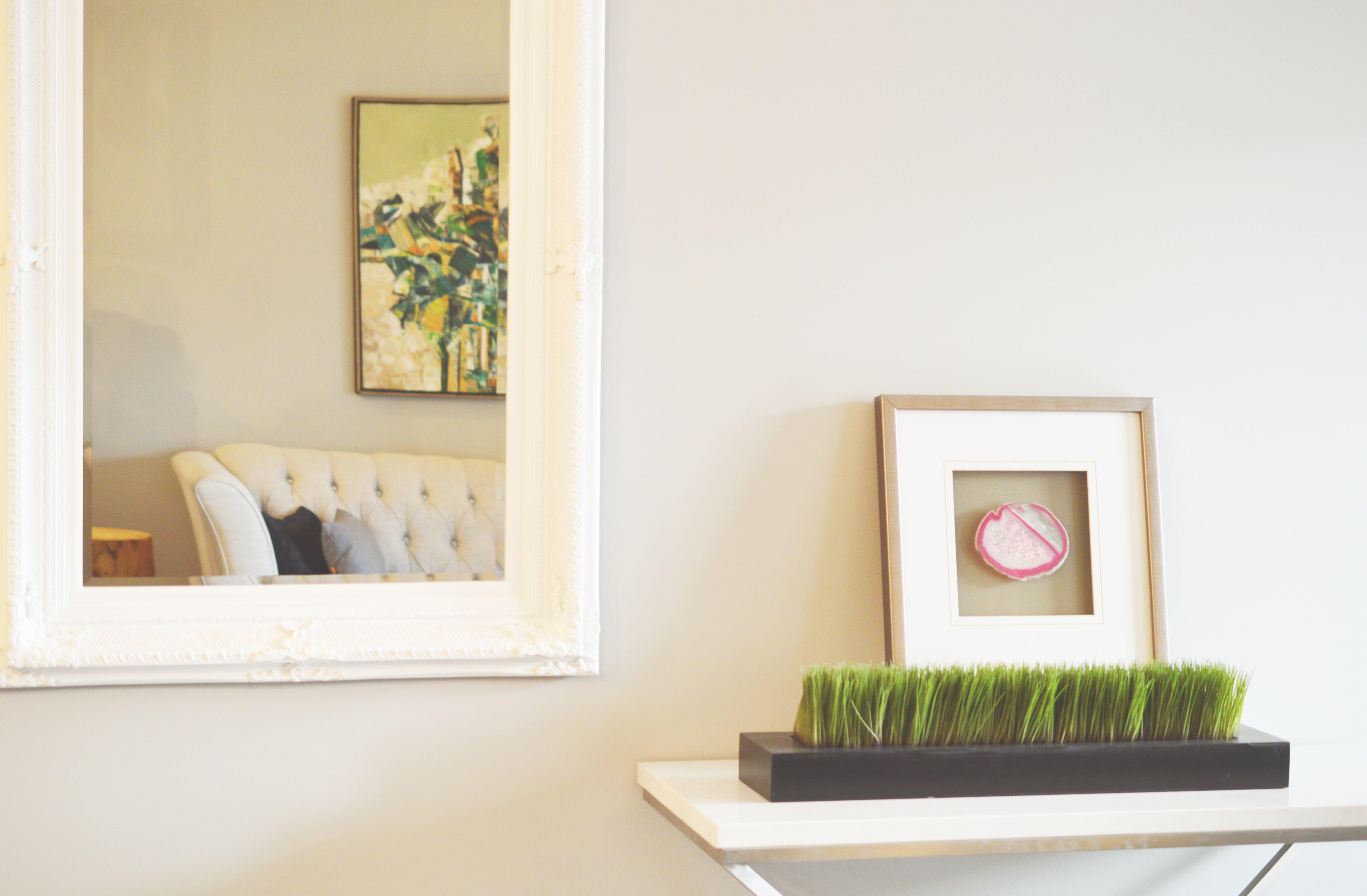 Rectangular White Wood-framed Wall Mirror