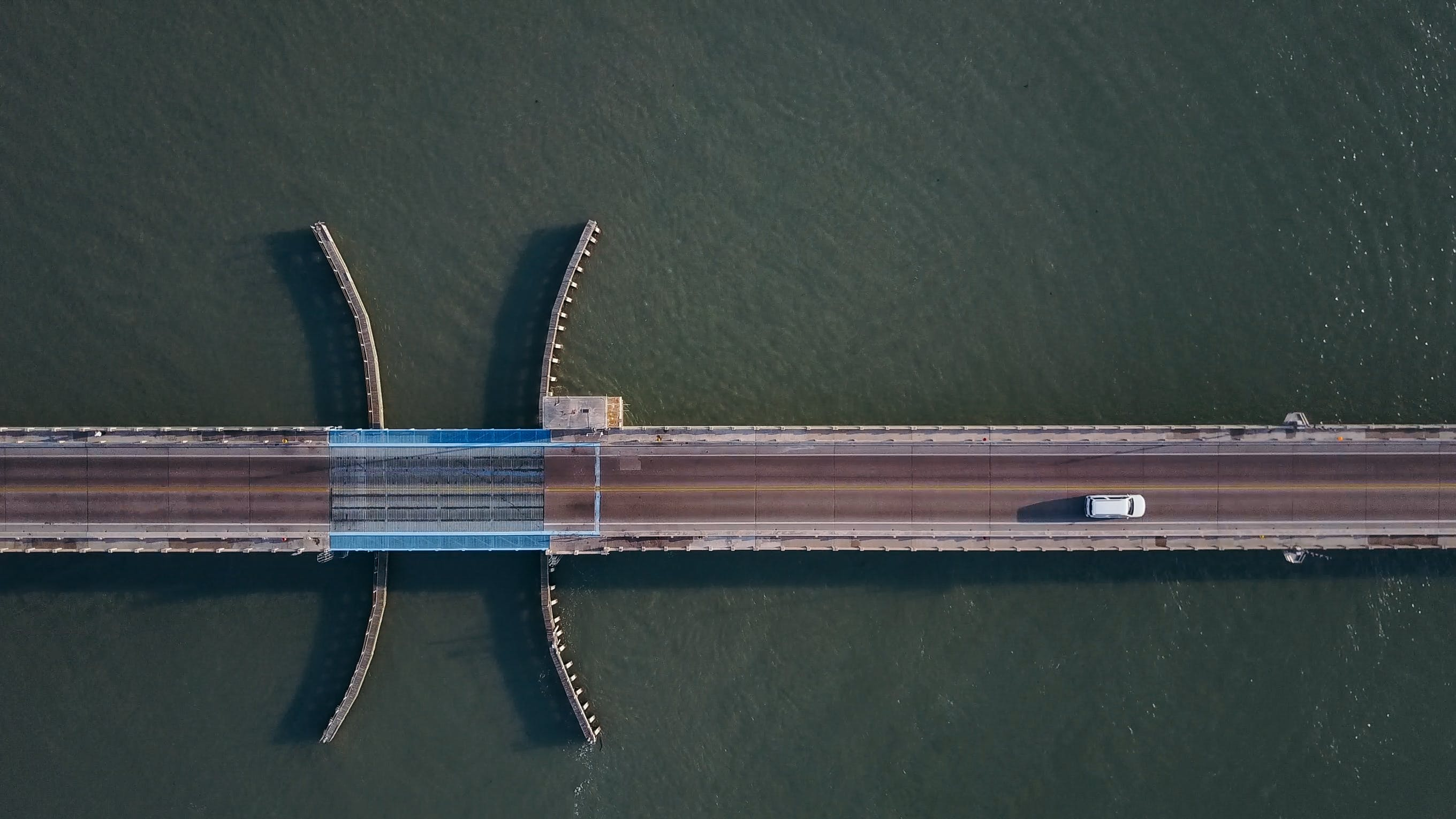 Free stock photo of bird's eye view, road, water, bridge