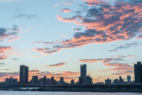 City Skyline Under Orange And Blue Cloudy Sky