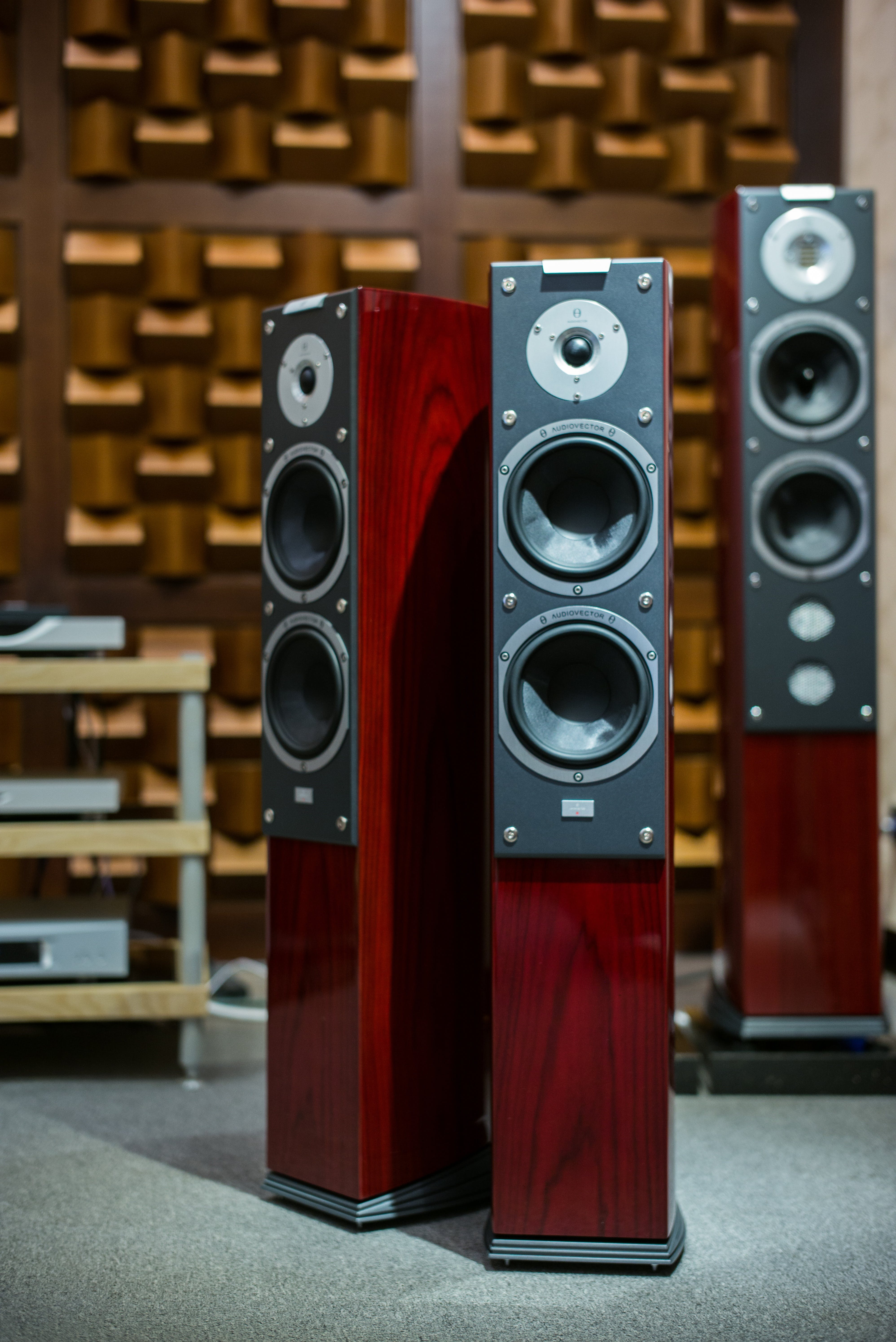 Three Red Tower Speakers