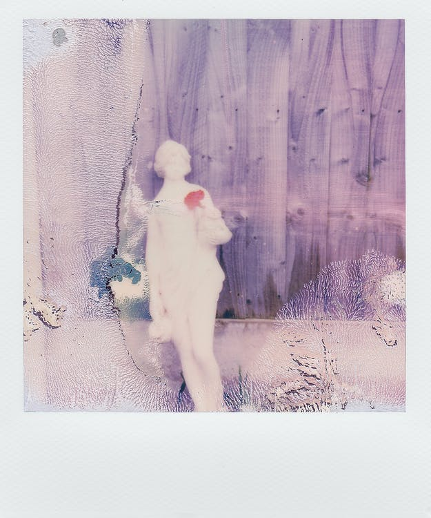 Polaroid Photo Of A Statue