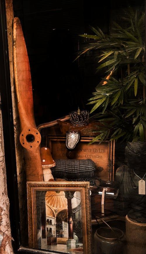 Old showcase of vintage shop