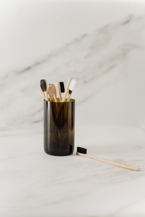 Wooden Toothbrush In A Cup
