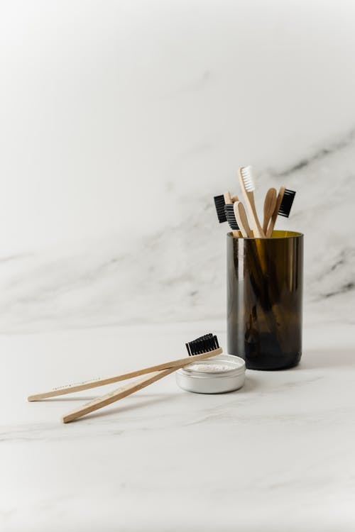 Bamboo Tooth Brushes in a Cup