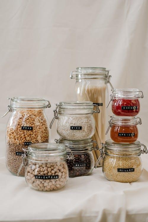 Ingyenes stockfotó befőttes üvegek, élelmiszer, konténerek, nulla hulladék témában