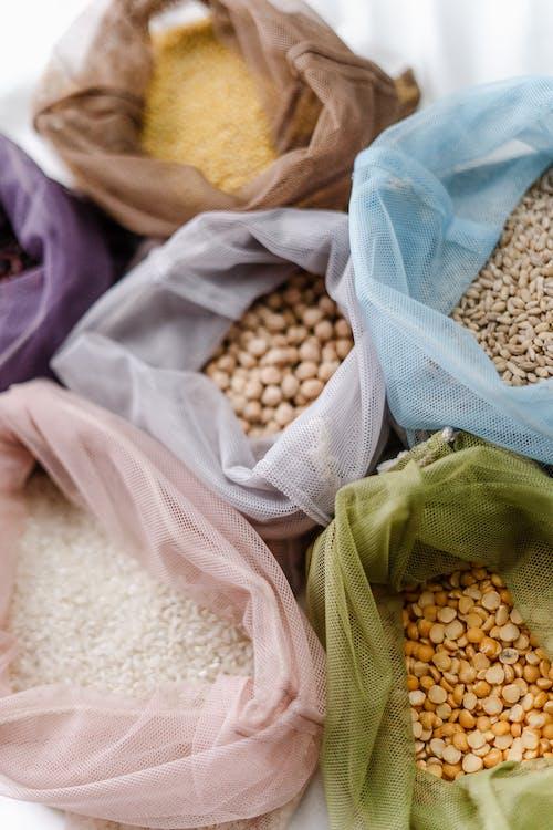 Brown and White Grains on White Textile