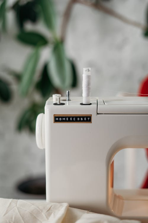 Close-Up Photo of Sewing Machine