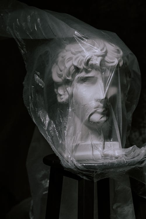 Photo of Gypsum Head Covered With Plastic
