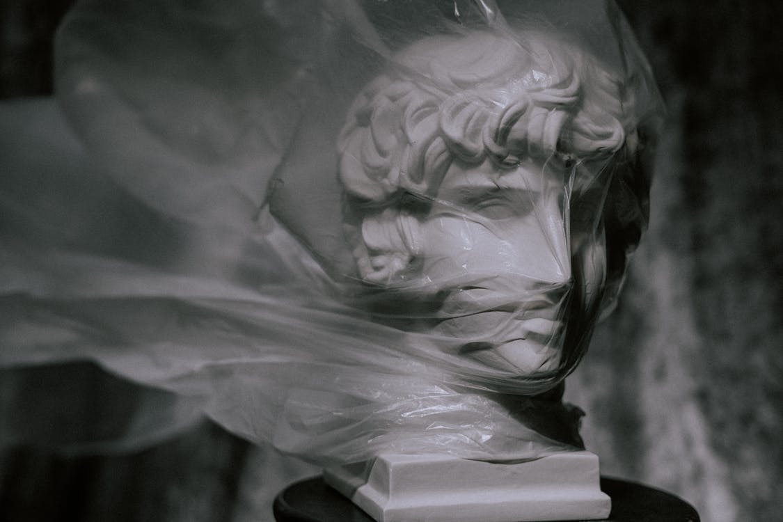 Photo of Gypsum Head Covered With Plastic Bag