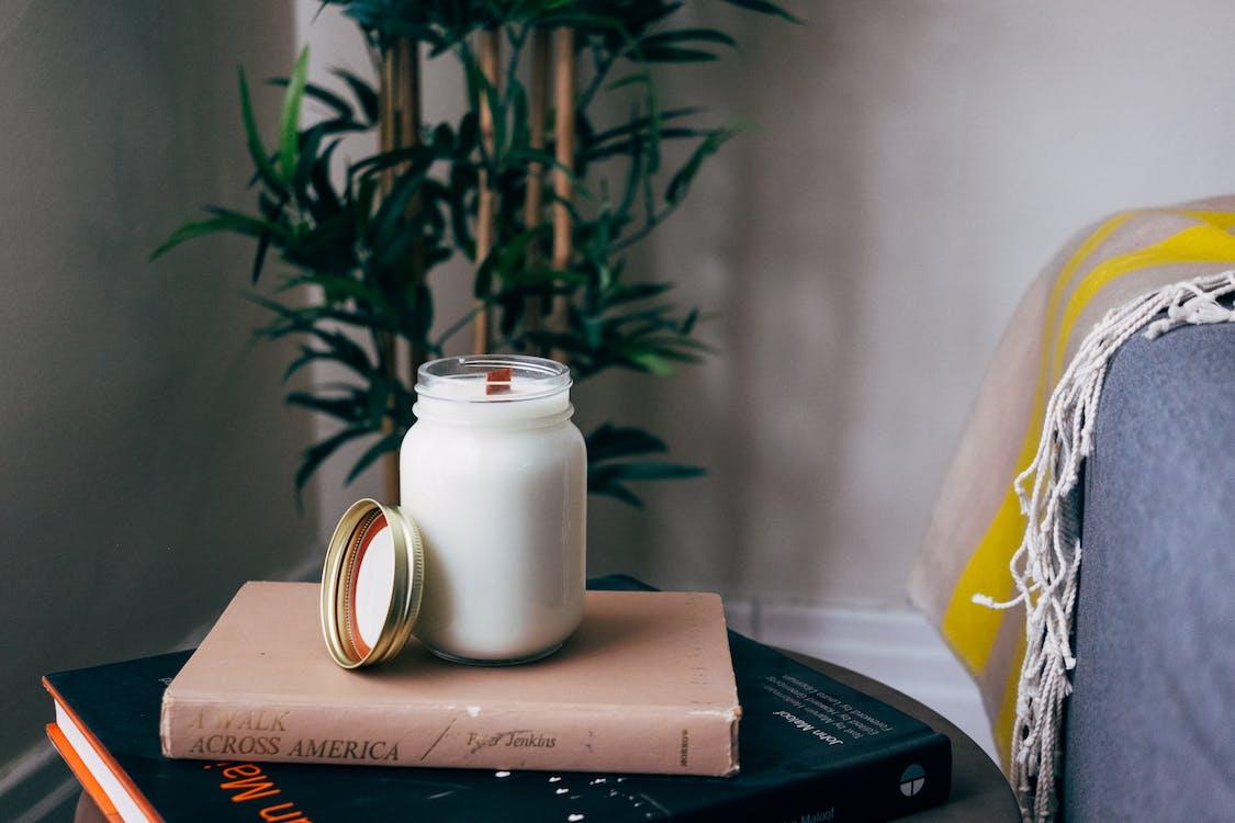 Milk Filled Jar on Book